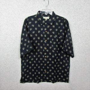 Mens Silk Short Sleeve Button Down Shirt